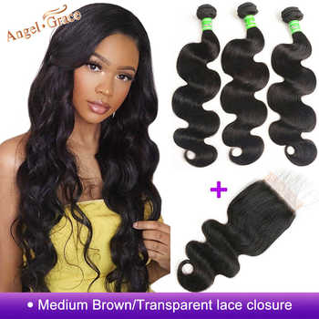 Angel Grace Hair Body Wave Bundles With Closure Remy Human Hair 3 Bundles With Closure Brazilian Hair Weave Bundles With Closure - DISCOUNT ITEM  51% OFF All Category