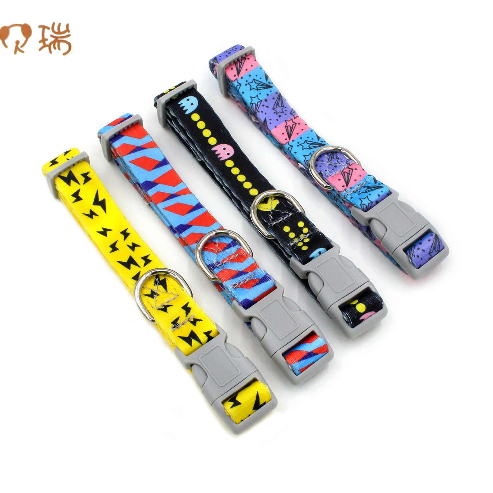 Berry New Style Hot Sales Printed Pet Collar Plastic Buckle Dog Neck Ring Multi-color Nylon Webbing Dog Neck Ring