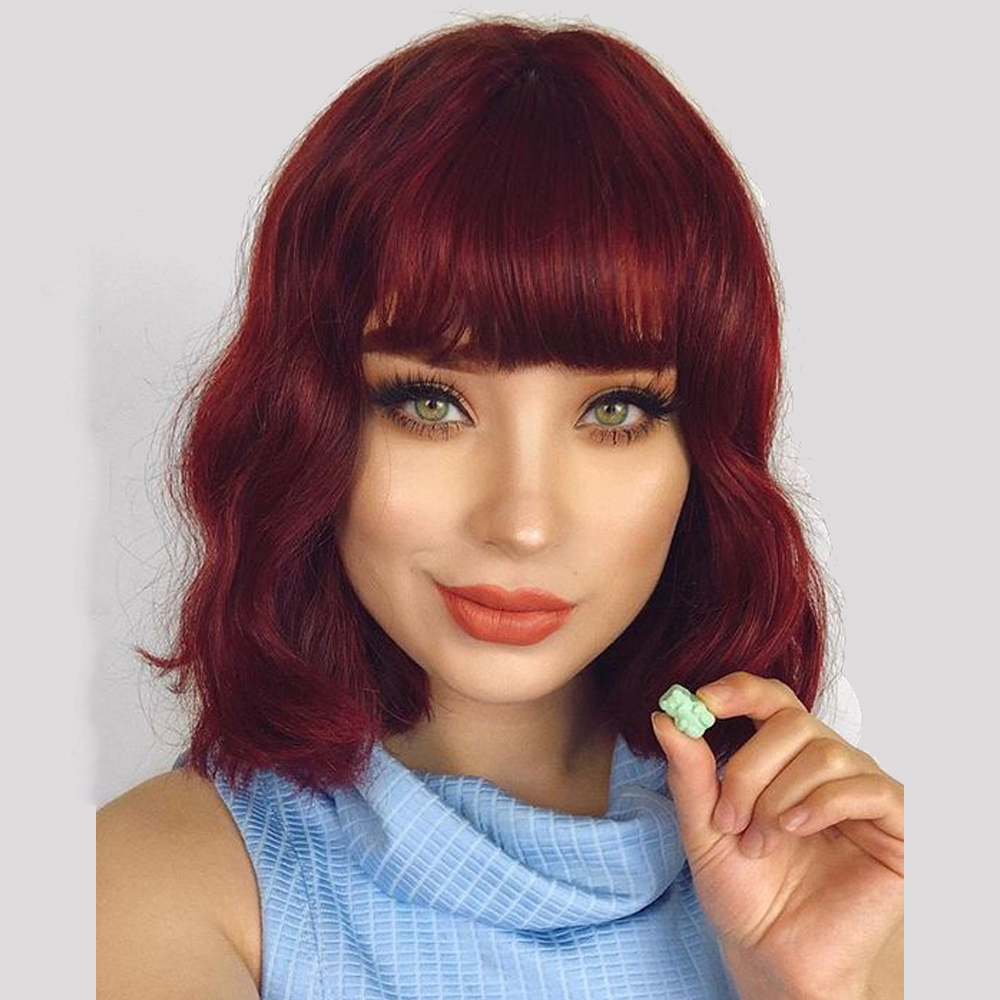 BYMC Natural Wave Bob With Bangs Human Hair Full Lace Wigs Brazilian Remy Wine Red 99J Hair Glueless Preplucked With Baby Hair