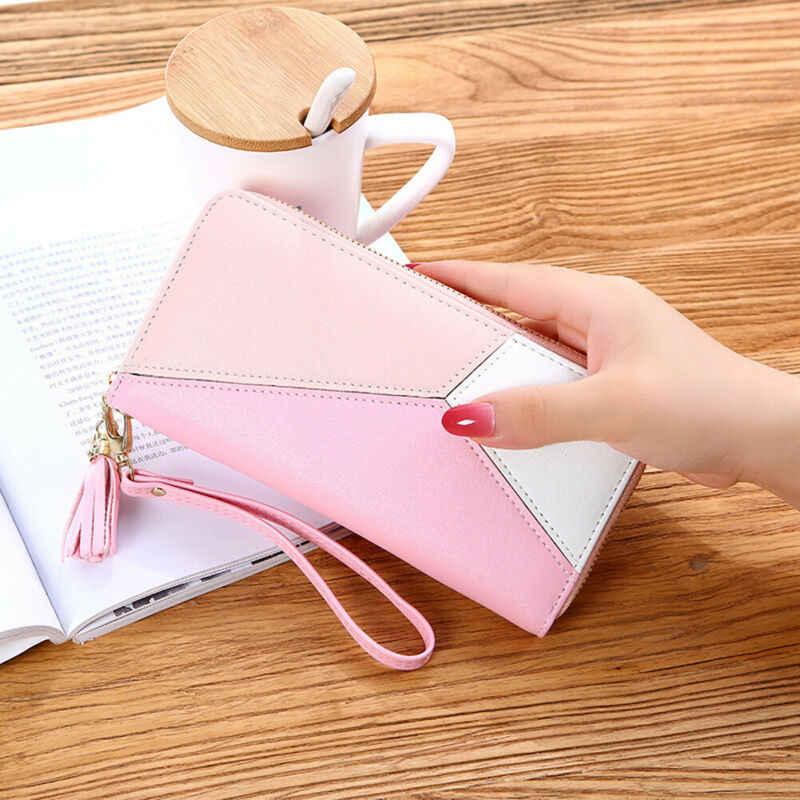 Frauen Lange Zipper Leder Brieftasche Große Patchwork Armband Kupplung Handtasche Karte Halter Handy Tasche Geldbörse