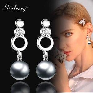 SINLEERY Chic imitación gris/blanco perla gota pendientes mujer Color plata Bisutería Accesorios Es199 SSH