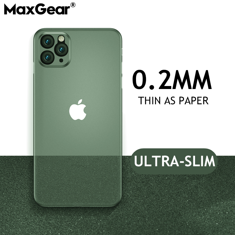 0.2mm Ultra Thin Hard Soft Case For iPhone 11 Pro X Xr Xs Max Matte Plastic Fashion Back title=