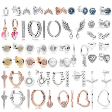 High Quality 925 Sterling Silver Pandoras Fashion Earrings with Original Stenciled Wedding Party Eve
