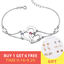 XiaoJing Personalized 925 Silver Interlocking Two Heart Birthstones Bracelet Engraved name Custom Valentines Gift wholesale
