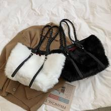 Oluolin women faux fur shoulder bags autumn winter plush purses