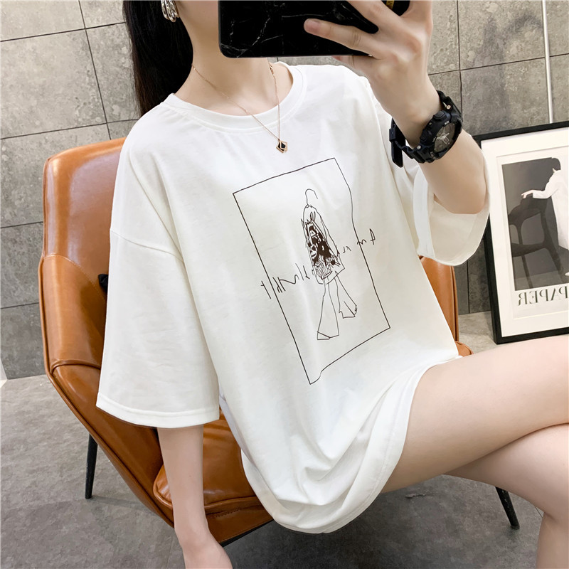 2020 New Summer T-shirt Women Loose Short Sleeve Casual Women Tops print Sweet Cartoon Oversize Harajuku Style Free Shipping