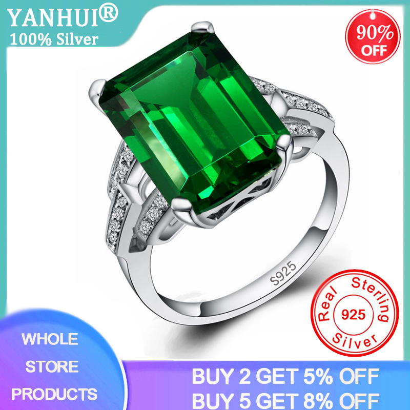 YANHUI Luxury 7.0ct Created Nano Emerald Ring 925 Sterling Silver Rings for Women Engagement Ring Silver 925 Gemstones Jewelry