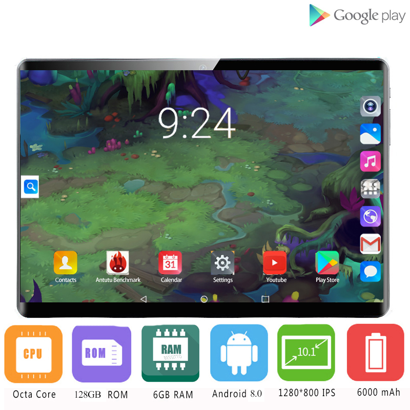 2020 New Google  10.1 Inch 2.5D Glass Tablet Android 8.0 Deca Core 4G LTE 6GB RAM 128GB ROM IPS 5.0 MP Wifi A-GPS Tablet 10 10.1