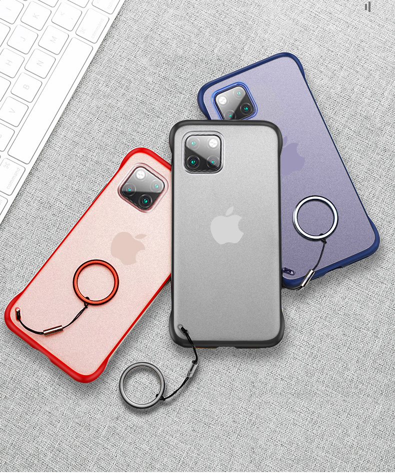 Luxury Frameless Ring Design Matte Hard PC Solid Back Cover Case For iPhone 12 Pro