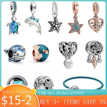 925 Sterling Silver Women Jewelry Ocean Series Narwhal Charm Starfish Waves & fish Beads fit 3mm Bracelet DIY Pendant - discount item  51% OFF Fine Jewelry