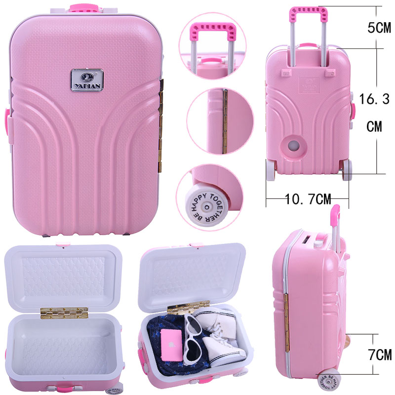 2 Colors To Choose,Suitcase/Piggy Bank For 18 Inch American Doll Accessories & 43 CM Born Baby Doll & 41 CM Nenuco & BJD & Logan