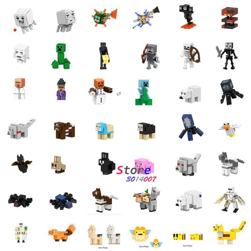 Single Building Blocks Cartoon Movie Cartoon People Villager Bear Horse Bubbles DIY toys for children