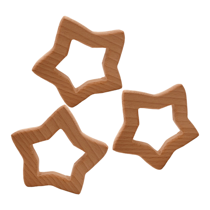 DIY Creative Pentagram Wooden Teether Food Grade Natural Beech Pacifier Chain Safety Certification Wooden Baby Teether Toys Gift