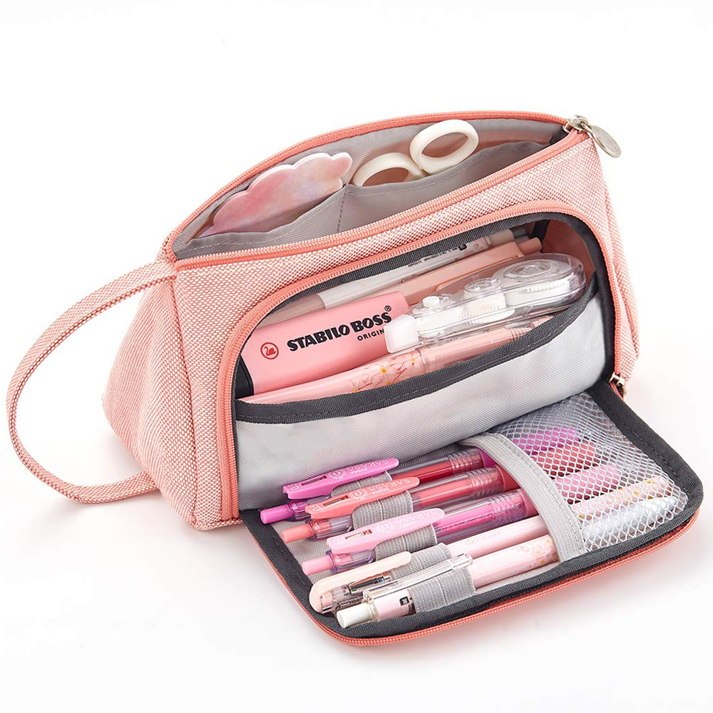 Litthing New Super  Large Capacity Makeup Bag School Pen Case Supplies Pencil Bag School Box Pencils Pouch Stationery