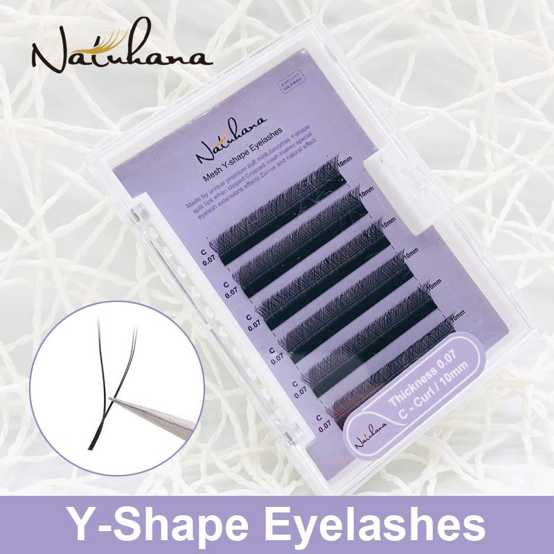 NATUHANA High Quality Y Shape Volume Faux Mink Eyelash Extension Natural Soft Individual Easily Grafting Dense Cilios Lashes