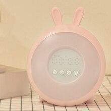 Милый кролик, светильник, будильник, восход солнца/закат, имитация, цифровые часы, 7 цветов, светильник, функция повтора звуков, нажмите Con