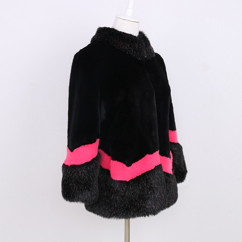 Nerazzurri Faux Fur Coat Women Autumn Winter Fluffy Color Block Furry Patchwork Fake Fur Jacket Plus Size Fashion Luxury Clothes