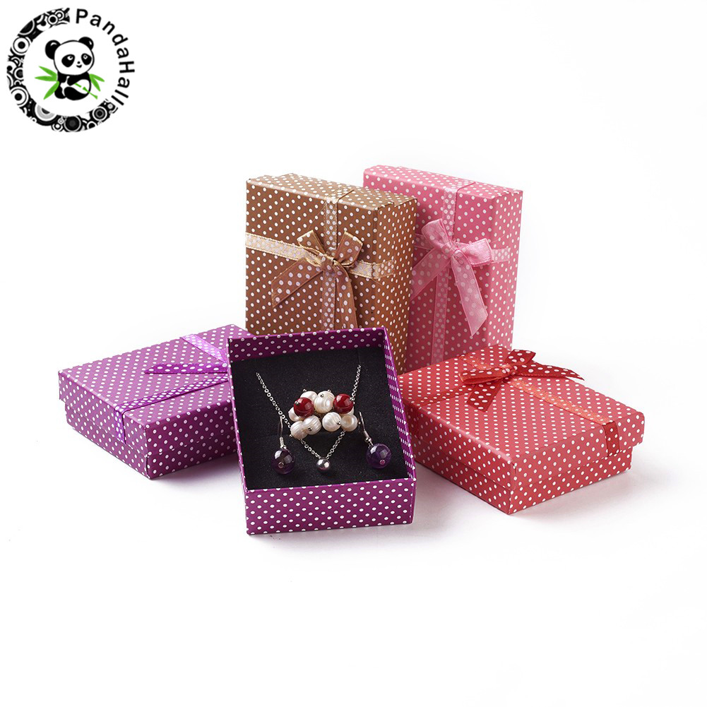 12pcs Jewelry Set Display Boxes Cardboard Rectangle Gifts Box With Sponge Valentines Day Packages ,Mixed Color, 90x70x26mm