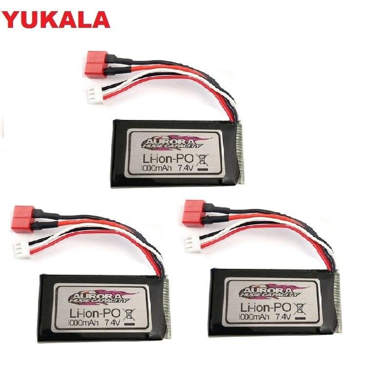 YUKALA XLH XinlehongQ901 Q902 Q903 1/16 2,4G Запчасти для радиоуправляемых автомобилей 7,4 В 1000 мАч литий-полимерный аккумулятор T-образный разъем