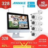 ANNKE 8CH 1080P HD WiFi Drahtlose NVR Video Überwachung System 12 zoll LCD Bildschirm Automatische Screen Saver 1080P kugel IP Kameras
