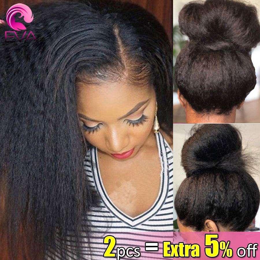 Eva 13x6 Lace Front Human Hair Wigs Pre Plucked With Baby Hair Brazilian Remy Kinky Straight Lace Front Hair Wig For Black Women