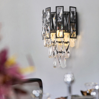 Modern wall sconce Luxury Led Crystal Wall Lamp Black Metal Body bedroom living room bedside hallway stair light Fixtures