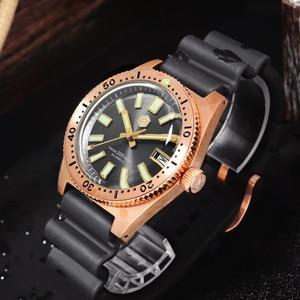 Image 2 - San Martin Tin Bronze 62Mas Diver Automatic Mechanical Men Watch NH35 Sapphire Bronze Bezel Sunray Dial Rubber Calendar Luminous