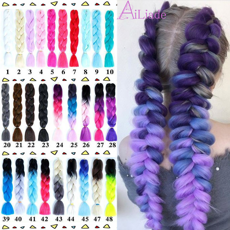 AILIADE  Jumbo Braids Ombre Crochet Synthetic Braiding Hair 24inches Pink Crochet Hair Extention Women Headwear