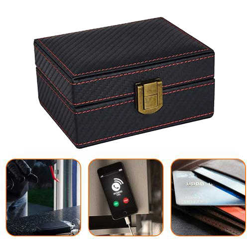 Keyless Entry Fob RFID Blocking Box Anti-Theft Faraday Cage,Key Storage Boxes,Safe Secure for Remote Smart Keys Faraday Box with a Blocker Pouch Large Car Key Signal Blocker Box
