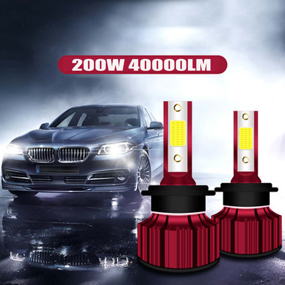 2x <font><b>200W</b></font> 40000LM Car <font><b>LED</b></font> <font><b>Headlight</b></font> Bubls Mini <font><b>Headlight</b></font> Kit for High Power <font><b>Bulb</b></font> fog Light 6000K White H7 H8 H9 H11 <font><b>H4</b></font> 9003 HB4 image