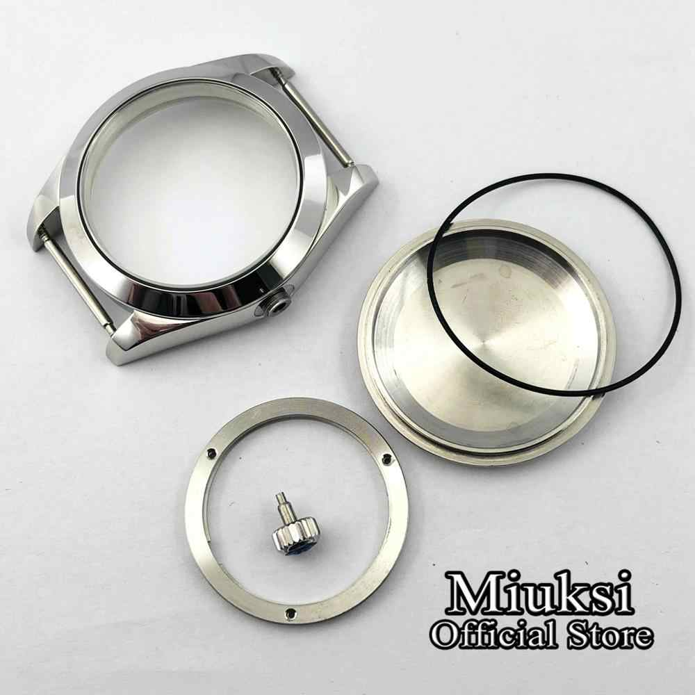 Miuksi 40mm ספיר זכוכית כסף פלדה stainlessl לצפות מקרה fit fit ETA 2836, DG2813/3804, miyota 8215 תנועה