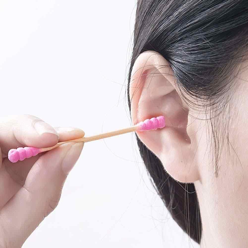 Coton tige r utilizable oreille cabeza de doble hilo desechable Limpieza de oreja algodón bastoncillos varilla de papel ecoamigable palos hilo