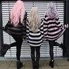 Punk Gothic Long Unisex Sweater 2020 Summer Women Striped Cool Hollow Out Hole Broken Jumper Loose Rock Thin Dark Streetwear Top 6