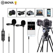 "BOYA BY M1DM 4 متر المزدوج رئيس Lavalier التلبيب كليب على ميكروفون مع 1/8 ""ستيريو موصل ل DSLR كاميرا IOS جهاز مقابلة حية"