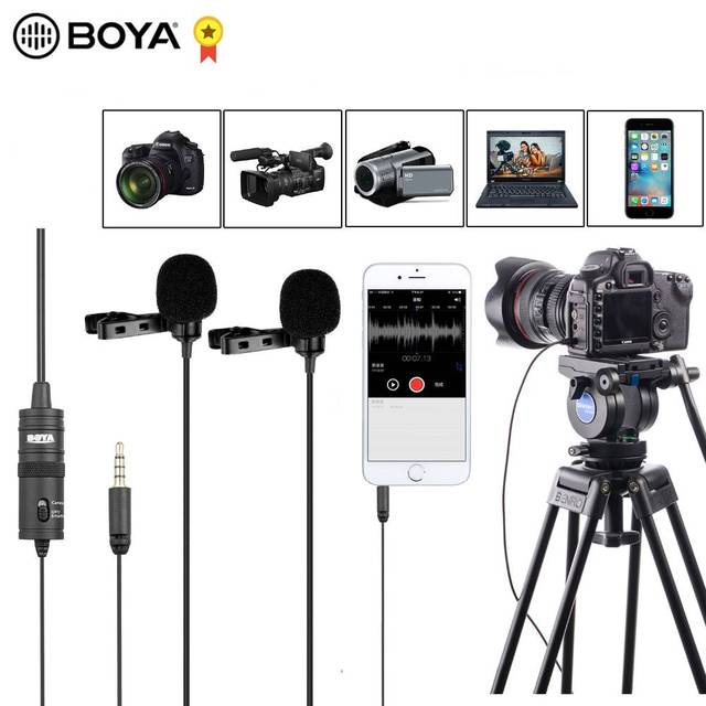 "BOYA BY M1DM 4m Dual Head Lavalier Lapel Clip on Microphone with 1/8"" Stereo Connector for DSLR Camera IOS Device live Interview"