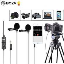 "BOYA BY M1DM 4m כפול ראש Lavalier דש קליפ על מיקרופון עם 1/8 ""סטריאו מחבר עבור DSLR מצלמה IOS מכשיר לחיות ראיון"
