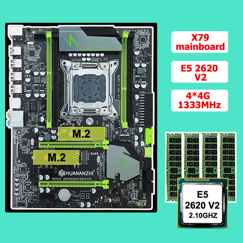 Discount motherboard CPU RAM set HUANAN ZHI X79 motherboard with M.2 CPU <font><b>Xeon</b></font> <font><b>E5</b></font> <font><b>2620</b></font> <font><b>V2</b></font> RAM 16G(4*4G) ECC REG 2 years warranty image