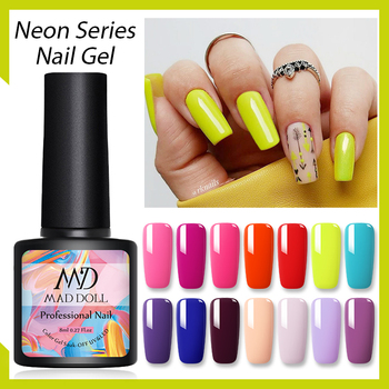 8ml MAD DOLL Summer Neon Series Gel Polish Soak Off UV LED Gel Semi Permanent Nail Gel Varnishes Nail Art Top Coat Base Gel цена 2017