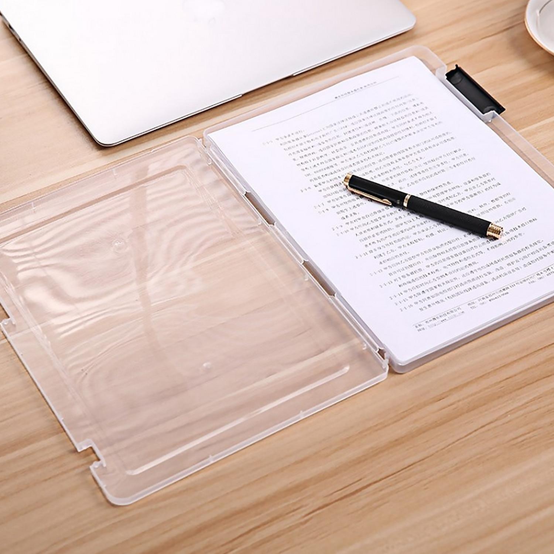 Portable Transparent Plastic A4 Size File Document Storage Case Box Organizer Container For Home Office School Teacher Supplies