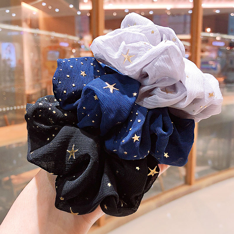 Fashion Solid Color Star Hair Accessories For Women Korean Elastic Hair Bands Girl Tie Gum Ponytail Holder Scronchies Headwear
