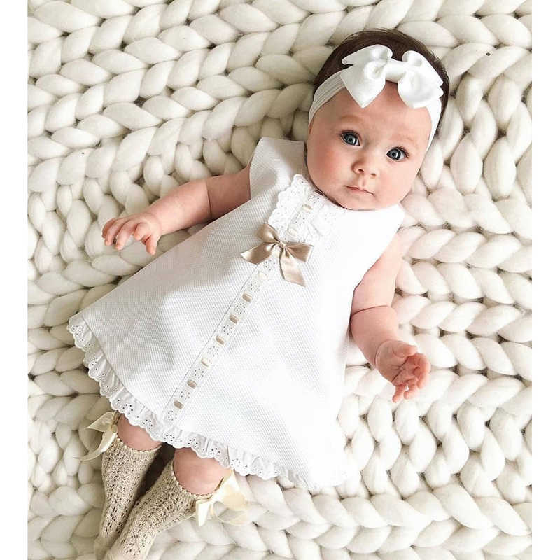 2020 Baby Summer Clothing 0-24M Infant Newborn Baby Girl Lace Dress Sleeveless Bowknot Rib Solid White Shift Gown Headband