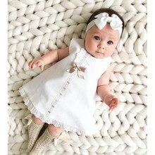 2020 bebê roupas de verão 0-24m infantil bebê recém-nascido vestido de renda da menina sem mangas bowknot costela sólido branco mudança vestido bandana