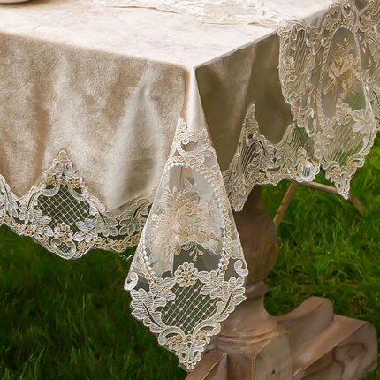 Europe Luxury Embroidered Tablecloth Table Dining Table Cover Table Cloth Velvet Tea Table Cloth Lace Flower Thicken Net