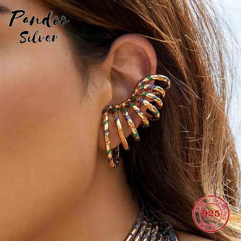 Mode breloque en argent Sterling copie 1:1 copie, jaune déclaration multicolore Tribal coulissant Mono oreille manchette femmes luxe bijoux cadeau - 6