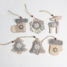 PWarm Christmas Tree Pendant Cute Stars Bells Hat Stocking Wooden Wool Diamond  Christmas Hanging Decoration CM cute rhinestone christmas hat cat christmas stocking brooch