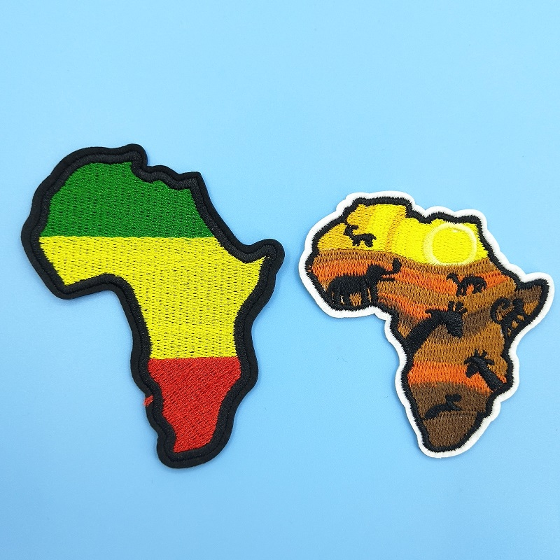 Africa Mainland Map Patch DIY Embroidery Clothing Appliques Iron on Patch Stripe for Garment Apparel Accessory