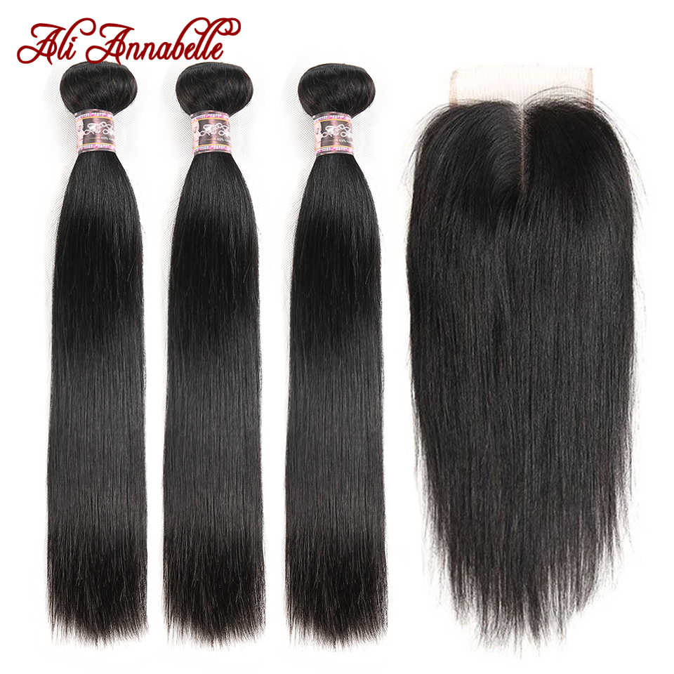 ALI ANNABELLE HAIR Straight Hair Bundles With Closure 100% Virgin Human Hair Bundles With Closure Brazilian Hair Weave Bundles