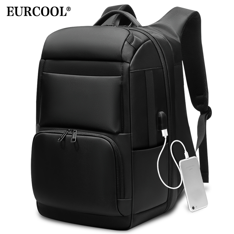 EURCOOL Men Travel Backpack Large Capacity Male Mochila Back Anti-thief Bag USB Charging 17.3 Inch Laptop Backpack Waterproof