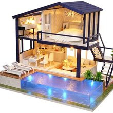 SG&DIY Miniature Dollhouse Kit Time Apartment DIY Dollhouse Kit with Wooden Furniture Light Gift House Toy for Adults