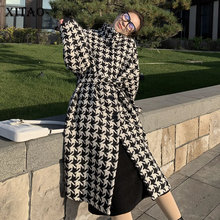 Coat Plaid Women Vintage-Stand-Collar Autumn Winter XITAO Single-Breasted Plus-Size DMY1097